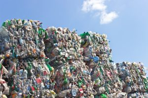 Plastic bales are seen stacked up