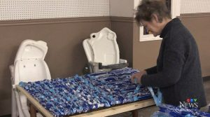 Using patterns provided by Toronto-based non-profit MILKBAGSunlimited, volunteers at Moncton's Karing Kitchen have been busy weaving together milk bags to create the waterproof, reusable mattress pads for those in need.
