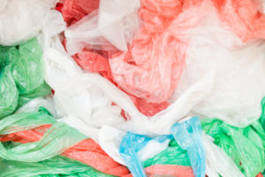 coloured plastic shopping bags