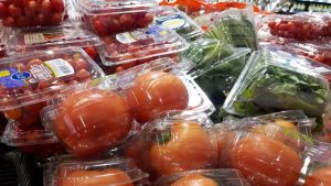 Packaged produce in a grocery store