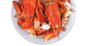 Lobster shells on a plate